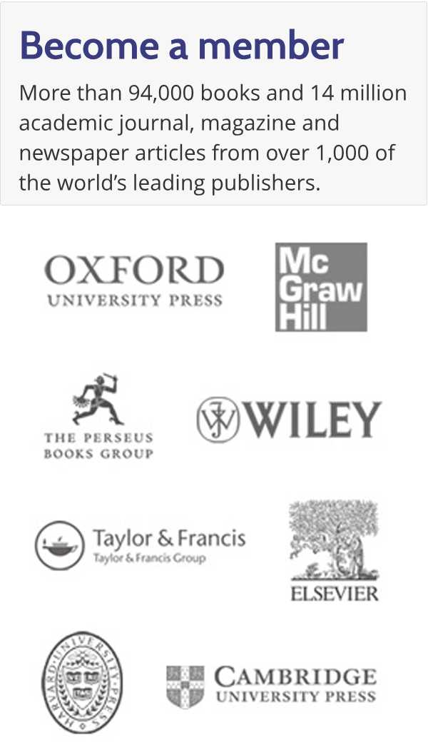 Free 1-day trial. More than 94,000 books and 14 million academic journal, magazine and newspaper articles from over 1,000 of the world's leading publishers.